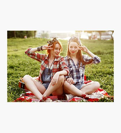 Two Young Smiling Hipster Girls Having Fun Photographic Print