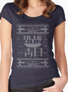 Firefly Blue sun ugly christmas T-Shirt  Women's Fitted Scoop T-Shirt