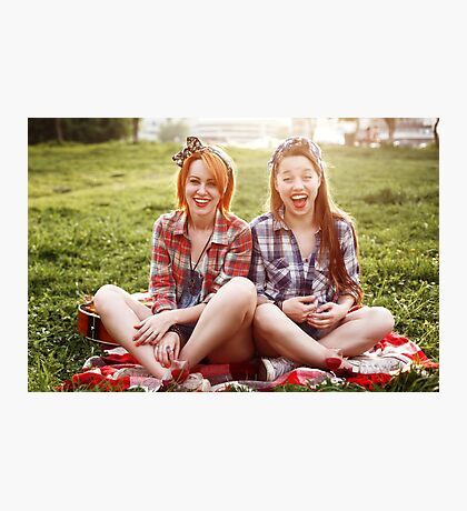 Two Young Laughing Hipster Women Laughing Photographic Print