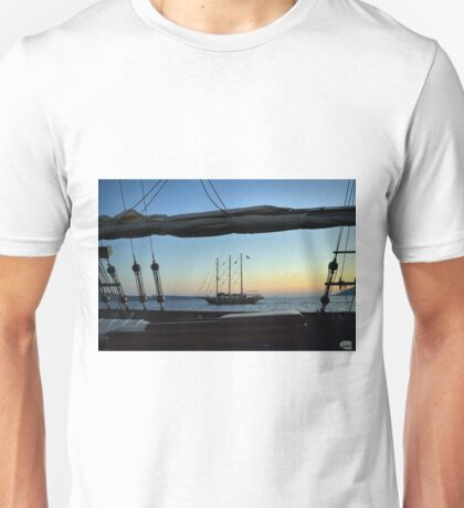 Two sailing boats at sea in Santorini, Greece. Unisex T-Shirt