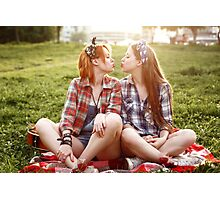 Hipster Girls Dressed in Pin Up Style Having Fun Photographic Print