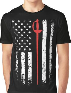 Vintage Fencing American Flag Graphic T-Shirt