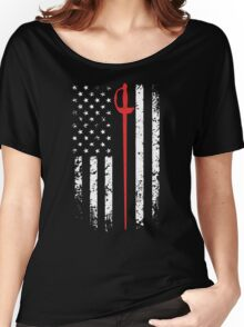 Vintage Fencing American Flag Women's Relaxed Fit T-Shirt