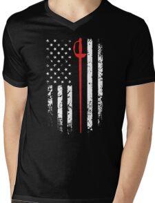 Vintage Fencing American Flag Mens V-Neck T-Shirt