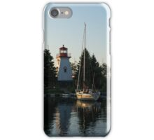 Lighthouse Morning at the Yacht Club iPhone Case/Skin