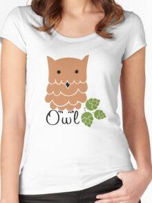 Cute cartoon owls Women's Fitted Scoop T-Shirt