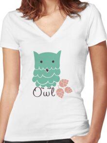 Cute cartoon owls Women's Fitted V-Neck T-Shirt