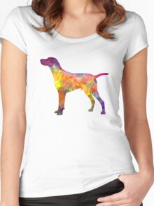 Hungarian Shorthaired Pointer in watercolor Women's Fitted Scoop T-Shirt