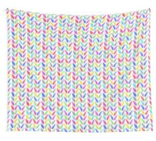 Knitted, tress or wheat ears seamless colorful pattern.  Wall Tapestry