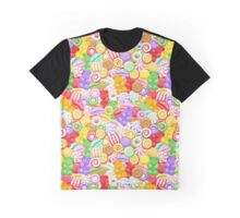 Seamless colorful assorted sweets background. Graphic T-Shirt