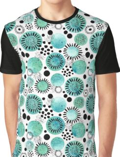 Watercolor Turquoise Circles, Little Black Dots and Lines Graphic T-Shirt