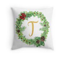 Christmas Monogram T Throw Pillow