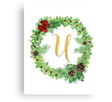 Christmas Monogram U Canvas Print
