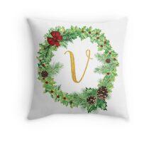 Christmas Monogram V Throw Pillow