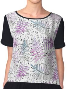 Watercolor Light Pink Ferns and Black Dots Chiffon Top