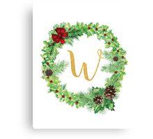 Christmas Monogram W Canvas Print