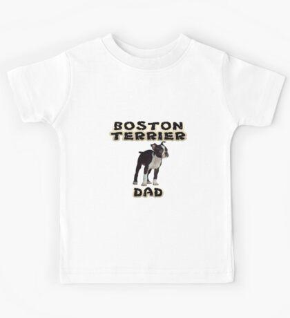 Boston Terrier Dad Father Kids Tee