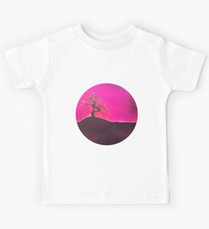 Bonsai Purple Pink Sunset Sky Kids Tee