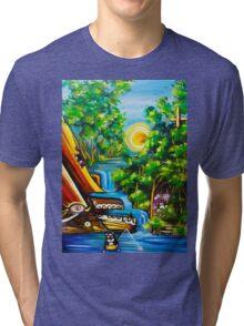 fishing kittens / cat fantasy by JOSE JUAREZ !! Tri-blend T-Shirt