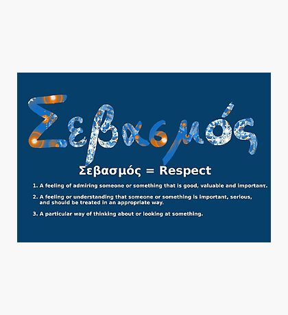 GREEK RESPECT Photographic Print