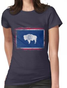 Wyoming State Flag Distressed Vintage Shirt Womens Fitted T-Shirt