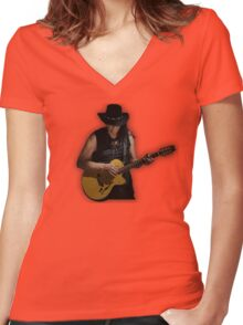sixto rodriguez illustration searching for sugar man rock icon lyrics inspirational movie hippie t shirts  Women's Fitted V-Neck T-Shirt
