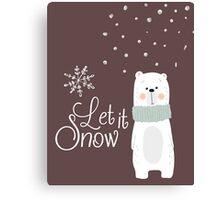 Let It Snow Bear Grey Canvas Print
