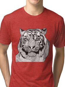 Tiger face zentangle black and white Tri-blend T-Shirt
