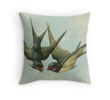 Vintage Swallow Pair Throw Pillow