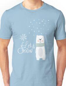 Let It Snow Bear Blue Unisex T-Shirt