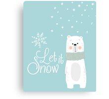 Let It Snow Bear Blue Canvas Print