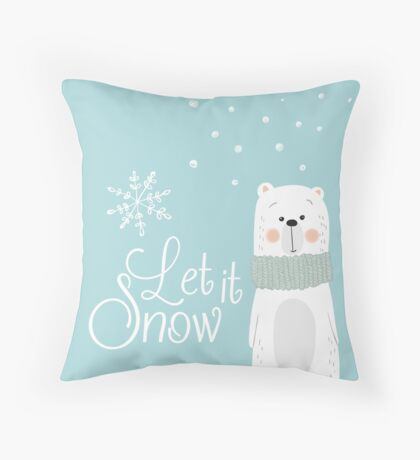 Let It Snow Bear Blue Throw Pillow