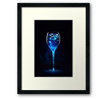Amazing blue cocktail with ice cubes in high glass Framed Print