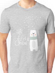 Let It Snow Bear Pink Unisex T-Shirt
