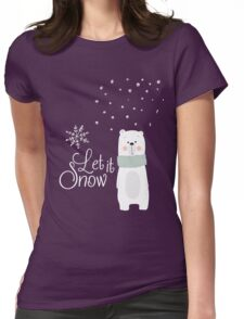 Let It Snow Bear Pink Womens Fitted T-Shirt