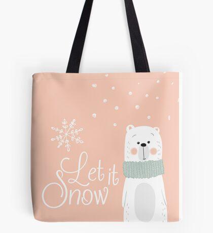 Let It Snow Bear Pink Tote Bag