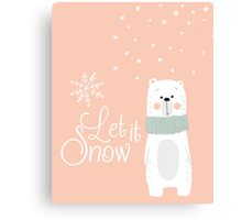 Let It Snow Bear Pink Canvas Print