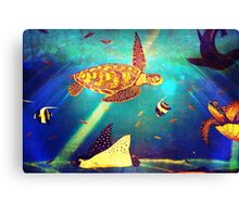 Blue Ocean Beautiful Sea Turtle Painting  Canvas Print