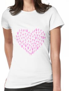 Pink Yoga Poses Heart Womens Fitted T-Shirt