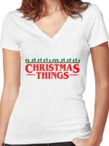 Christmas Things - Perfect for that Stranger fan in your life! Women's Fitted V-Neck T-Shirt