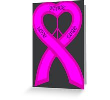 Peace Love Cure Breast Cancer Pink Ribbon Greeting Card