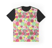 Doodley Flowers in Pink Graphic T-Shirt