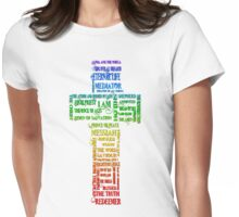 Rainbow Names of Jesus Cross Womens Fitted T-Shirt