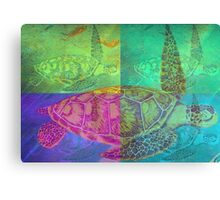Colorful Wild Beautiful Sea Turtle Painting  Canvas Print