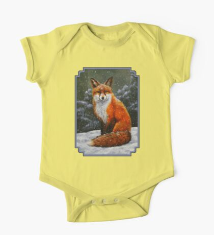Red Fox in Snow One Piece - Short Sleeve