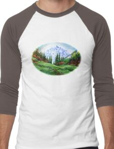 Rainbow over the Snow Covered Mountain Men's Baseball ¾ T-Shirt