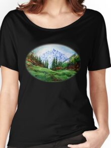Rainbow over the Snow Covered Mountain Women's Relaxed Fit T-Shirt