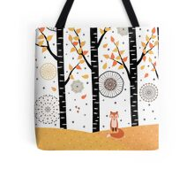 Fox - Birch Trees - Autumn Tote Bag