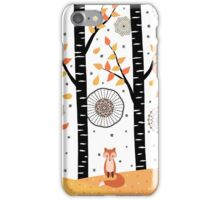 Fox - Birch Trees - Autumn iPhone Case/Skin