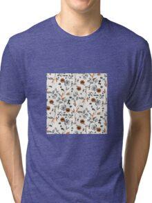 Orange Flower Pattern Tri-blend T-Shirt
